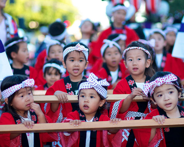 cute Japanese children at the gion festival in Kyoto Japan