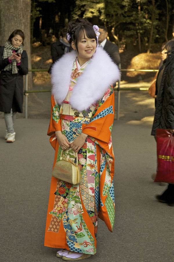 japanese girl in orange kimono