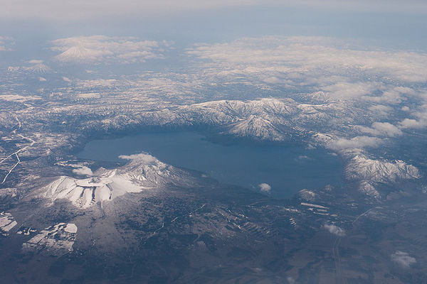 lake shikotsu from airplane