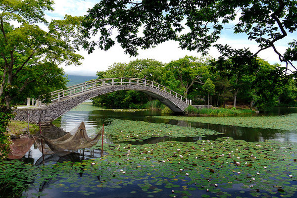 onuma park hokkaido summer bridge